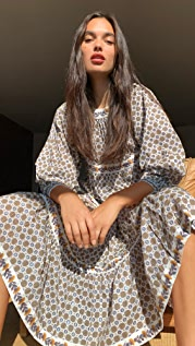 Tory Burch Printed Puffed-Sleeve Dress