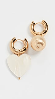 Timeless Pearly Gold / Mother of Pearl Heart Hoops