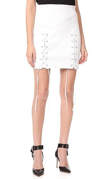 ThePerfext Laced Hem Miniskirt - White