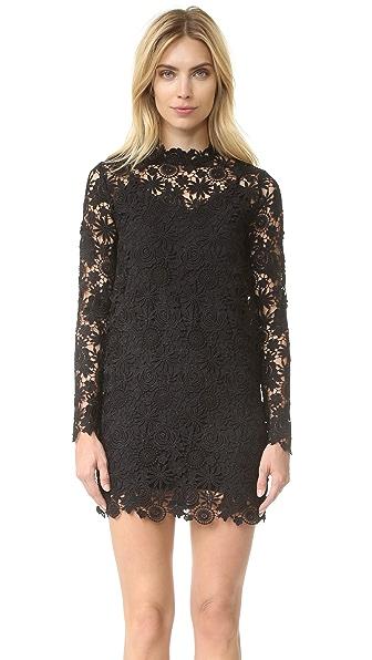 ThePerfext Long Sleeve Crochet Dress - Black