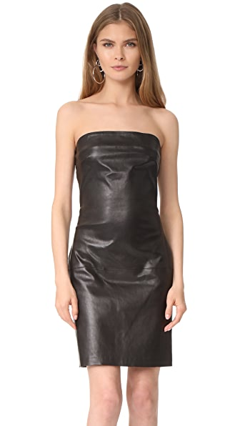 ThePerfext Strapless Leather Dress In Black