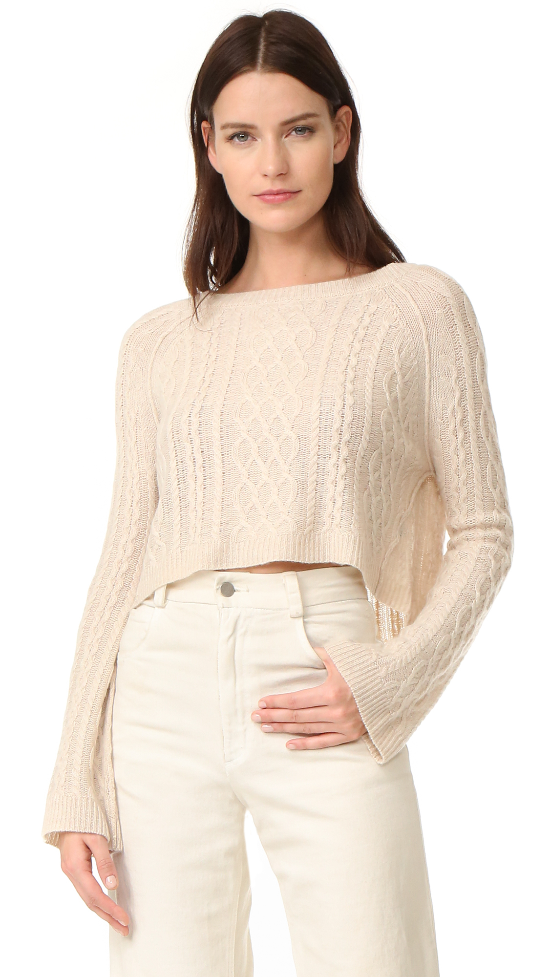 A cropped ThePerfext sweater in a cozy cable knit. Wide neckline. Long sleeves. Fabric: Soft cable knit. 100% cashmere. Dry clean. Imported, China. Measurements Length: 17.25in / 44cm, from shoulder Measurements from size S. Available sizes: L,M,