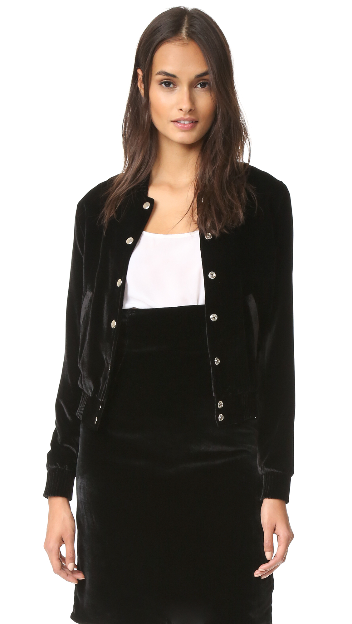 Plush velvet gives this ThePerfext bomber jacket a luxe, dressy look. Ribbing cinches the edges, and polished snaps fasten the placket. 2 pockets. Silk lining. Fabric: Velvet. Shell: 82% rayon/18% silk. Lining: 100% silk. Dry clean. Made in the