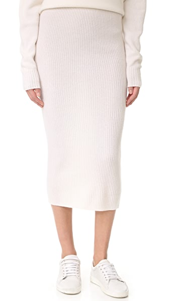 ThePerfext Cashmere Skirt In Chalk