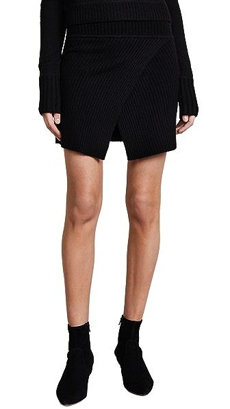 ThePerfext Cross Front Miniskirt In Black