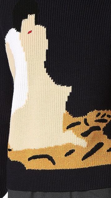 3.1 Phillip Lim Novelty Intarsia Boxy Pullover