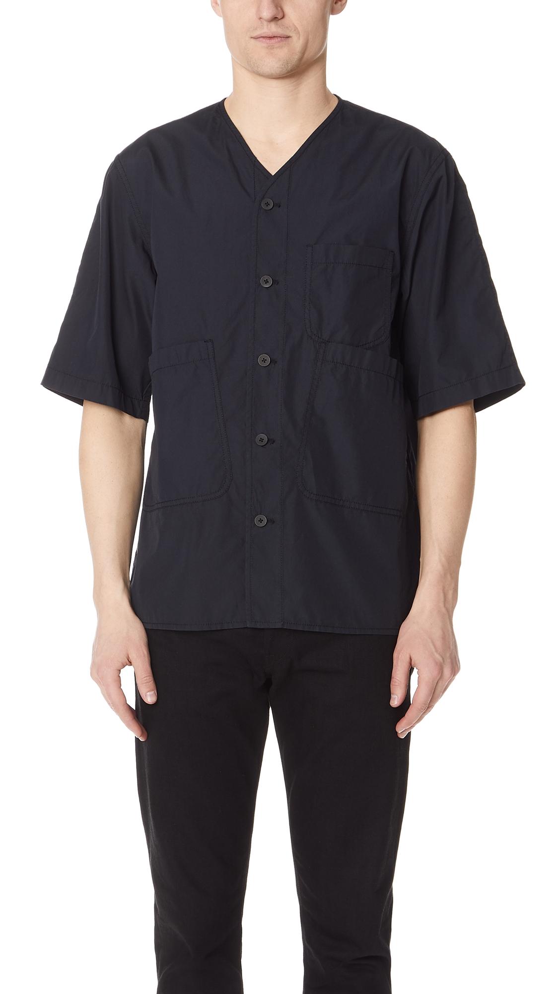 3.1 Phillip Lim V Neck Button Down Shirt In Midnight