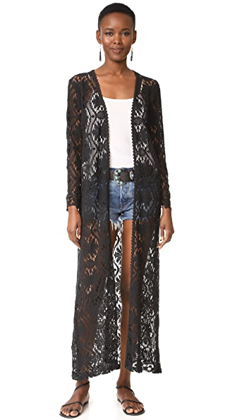 Temptation Positano Long Cardigan In Black