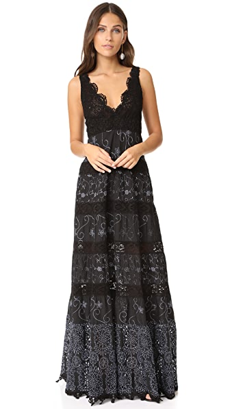 Temptation Positano Long Dress with Embroidery In Black