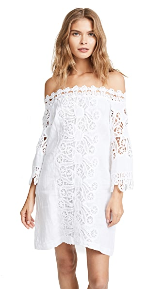 Temptation Positano Off Shoulder Tunic with Lace In White
