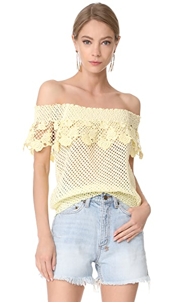 Temptation Positano Lace Off the Shoulder Blouse In Giallo/Yellow