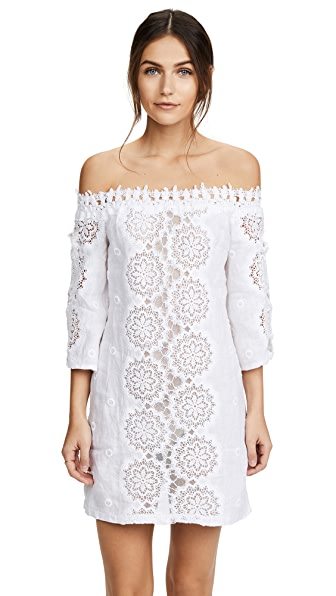 Temptation Positano Palau Off the Shoulder Tunic Dress In White