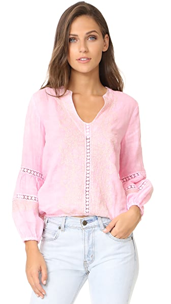 Temptation Positano Embroidered Blouse In Rosa