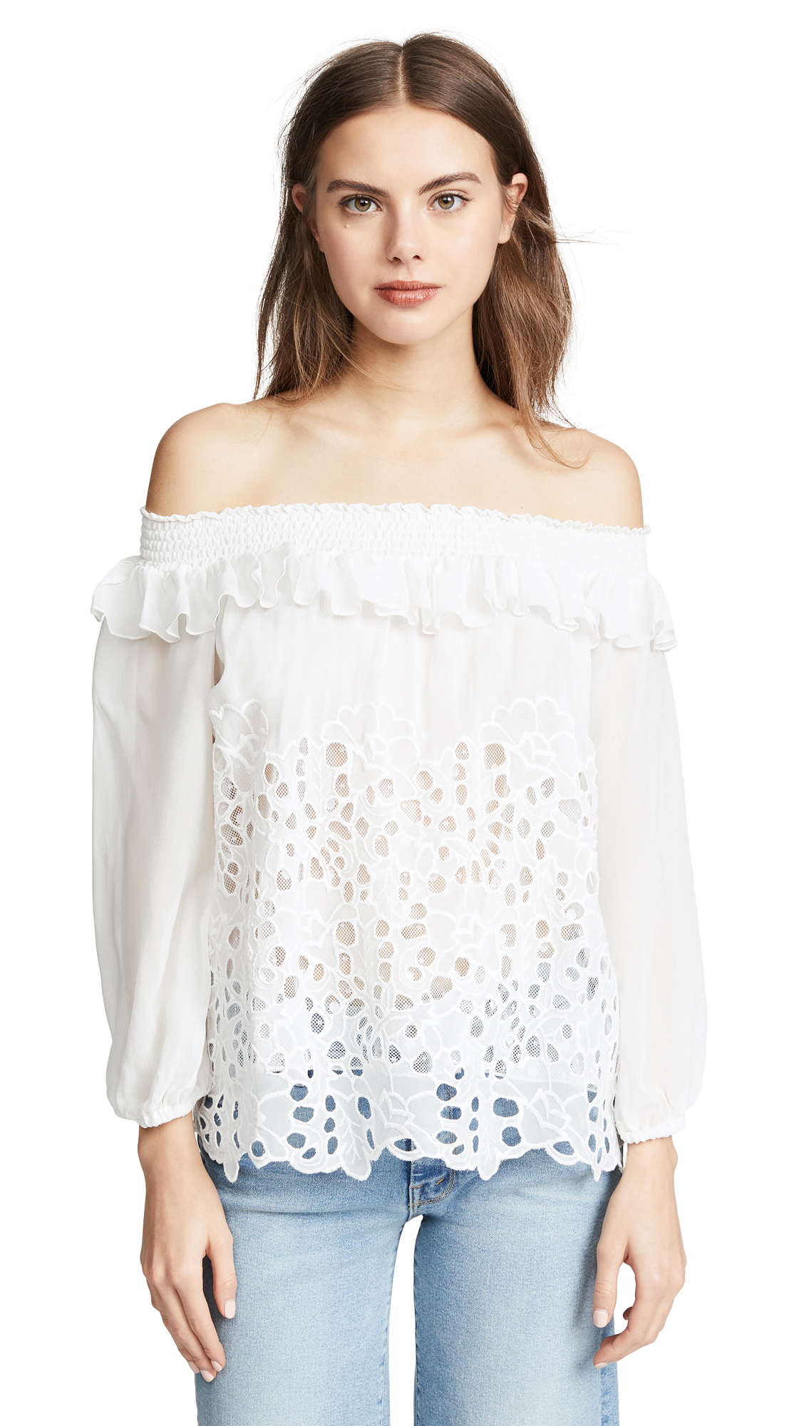 TEMPTATION POSITANO LONG SLEEVE OFF SHOULDER TOP