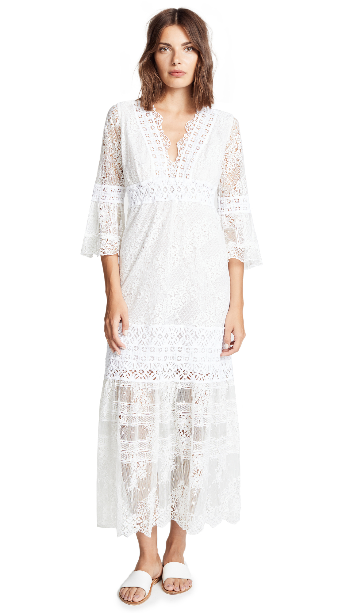 TEMPTATION POSITANO V NECK LACE DRESS