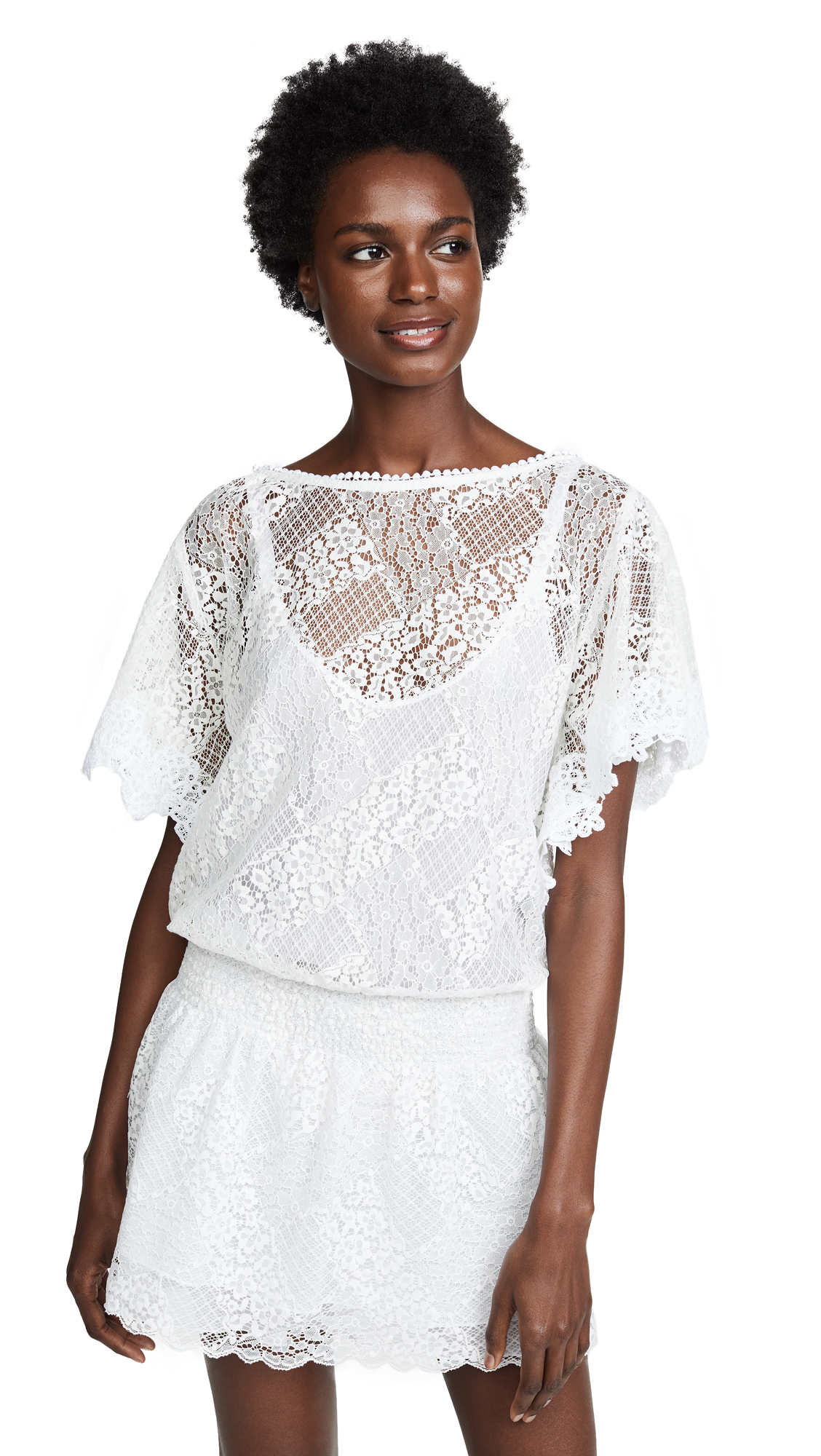 Temptation Positano Bristol Drop Waist Short Sleeve Dress In White