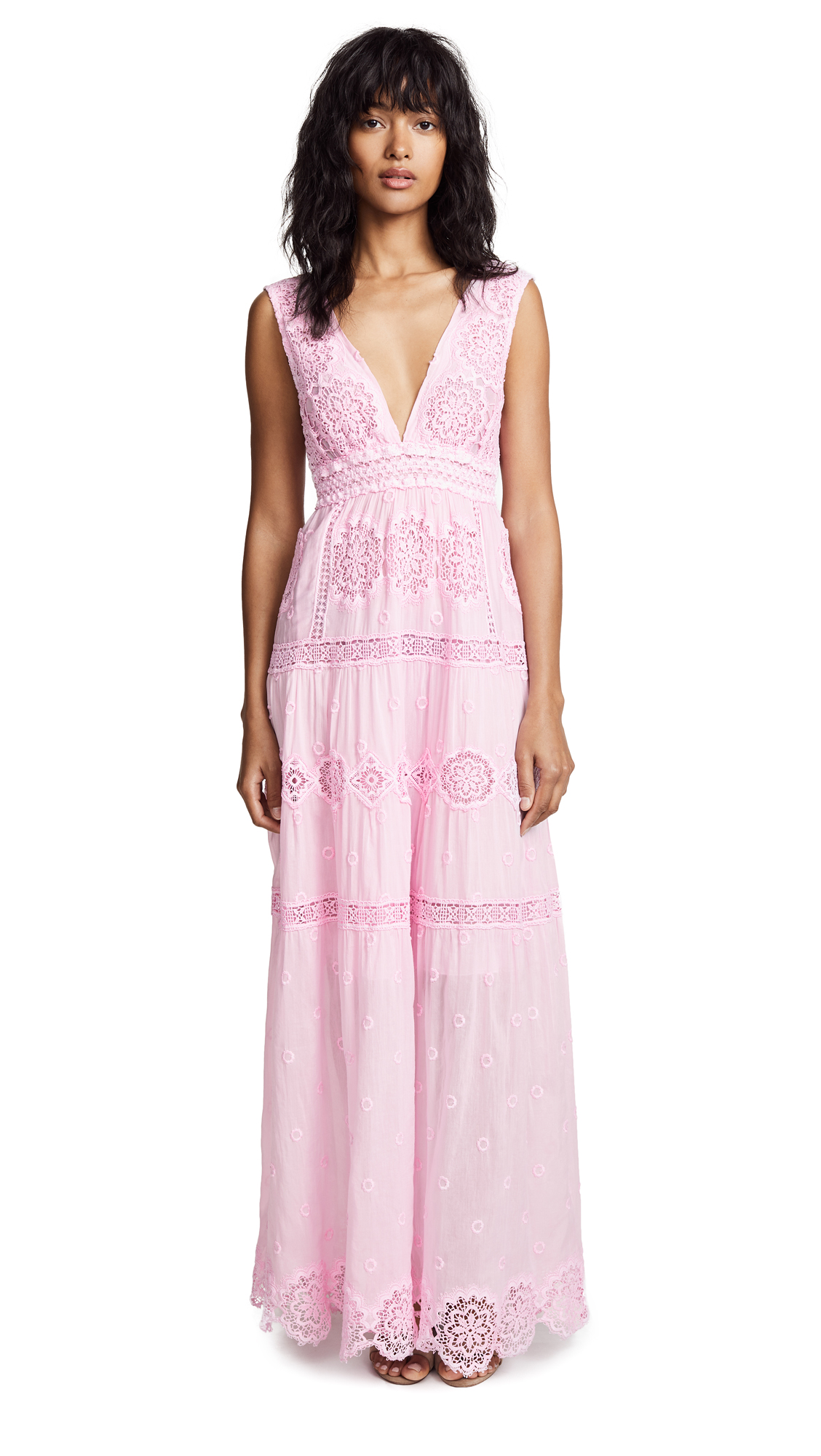 Temptation Positano Maldive Long V Neck Dress - Pink