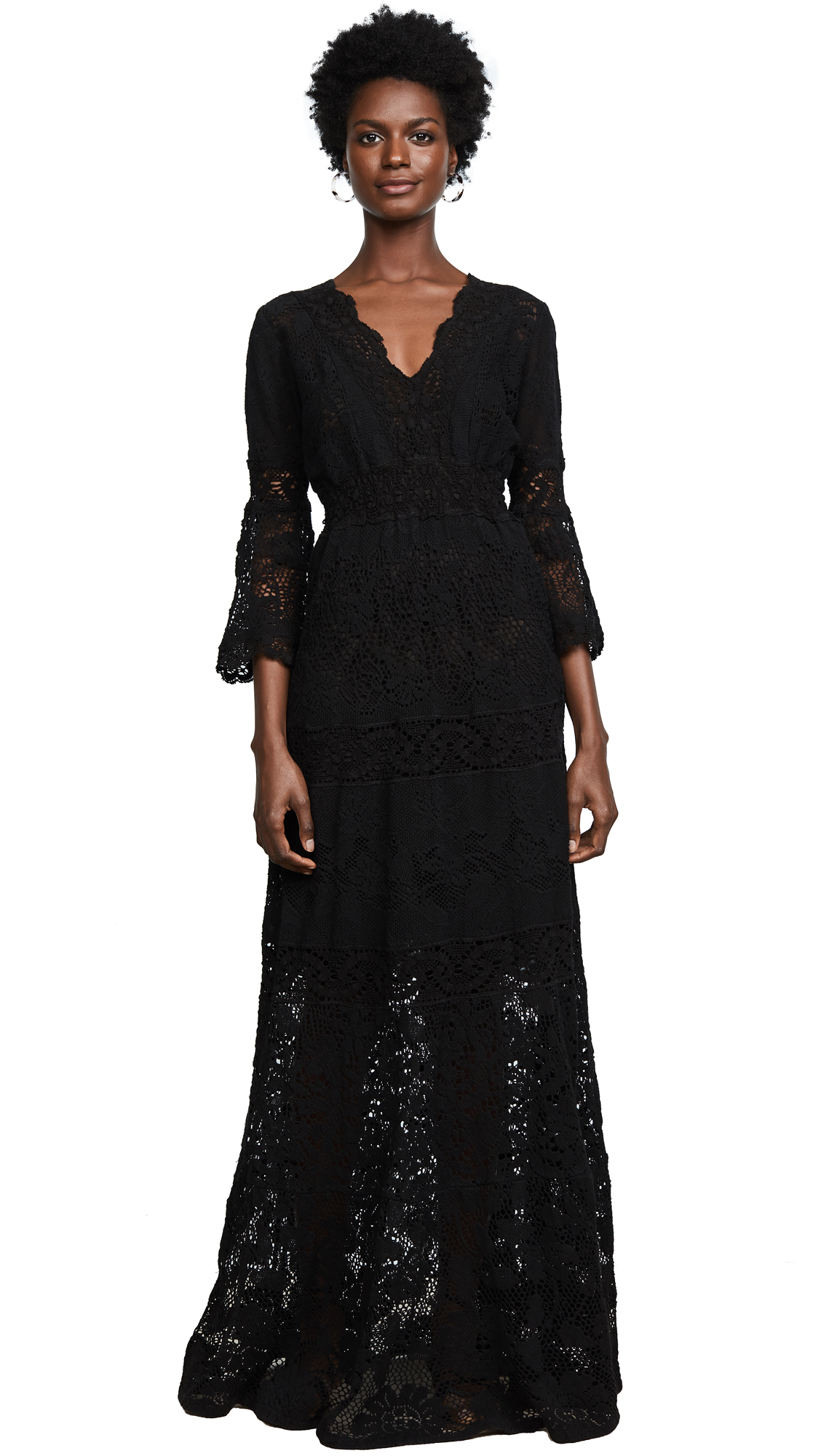 Temptation Positano Caledonia V Neck Long Sleeve Dress - Black