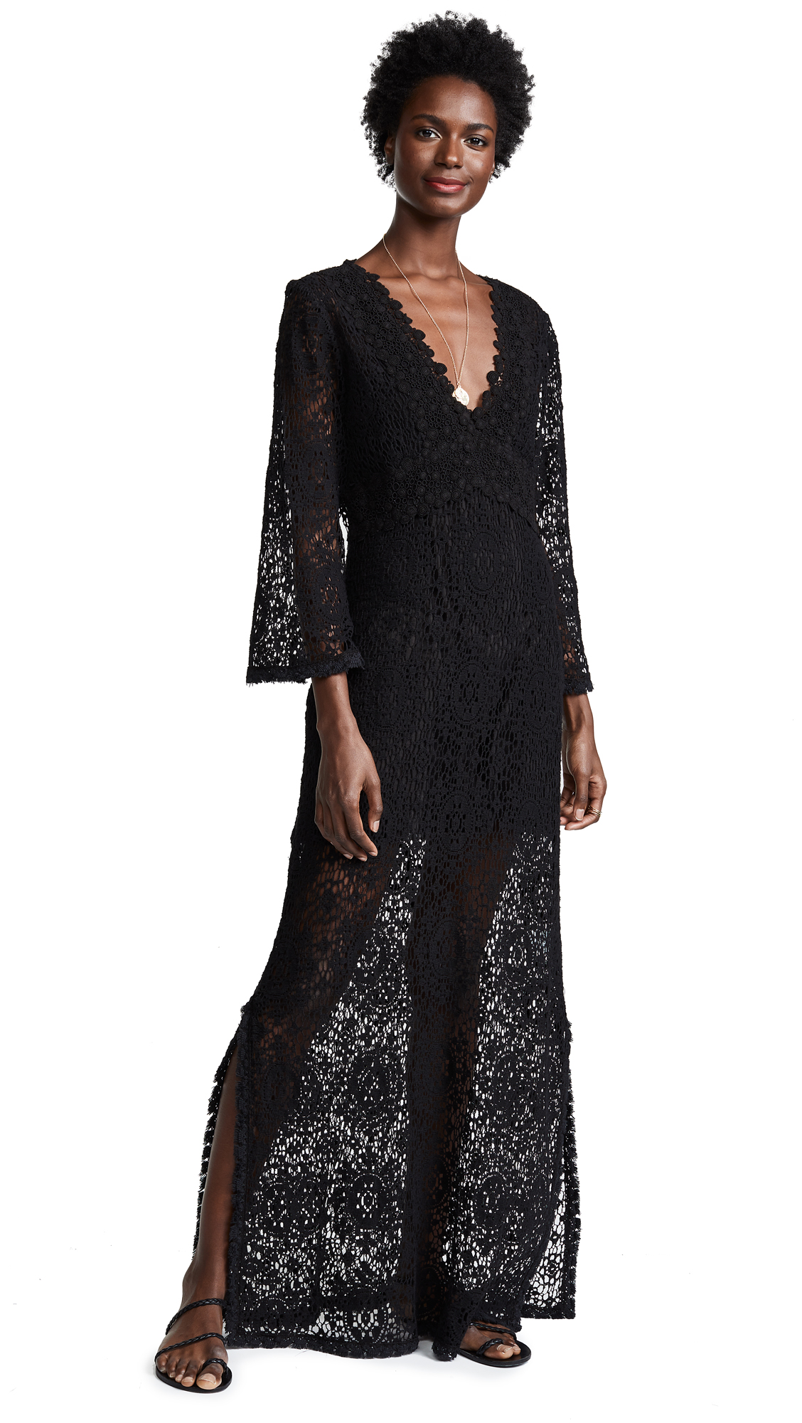 Temptation Positano Rennel Long Sleeve Crochet Dress - Black