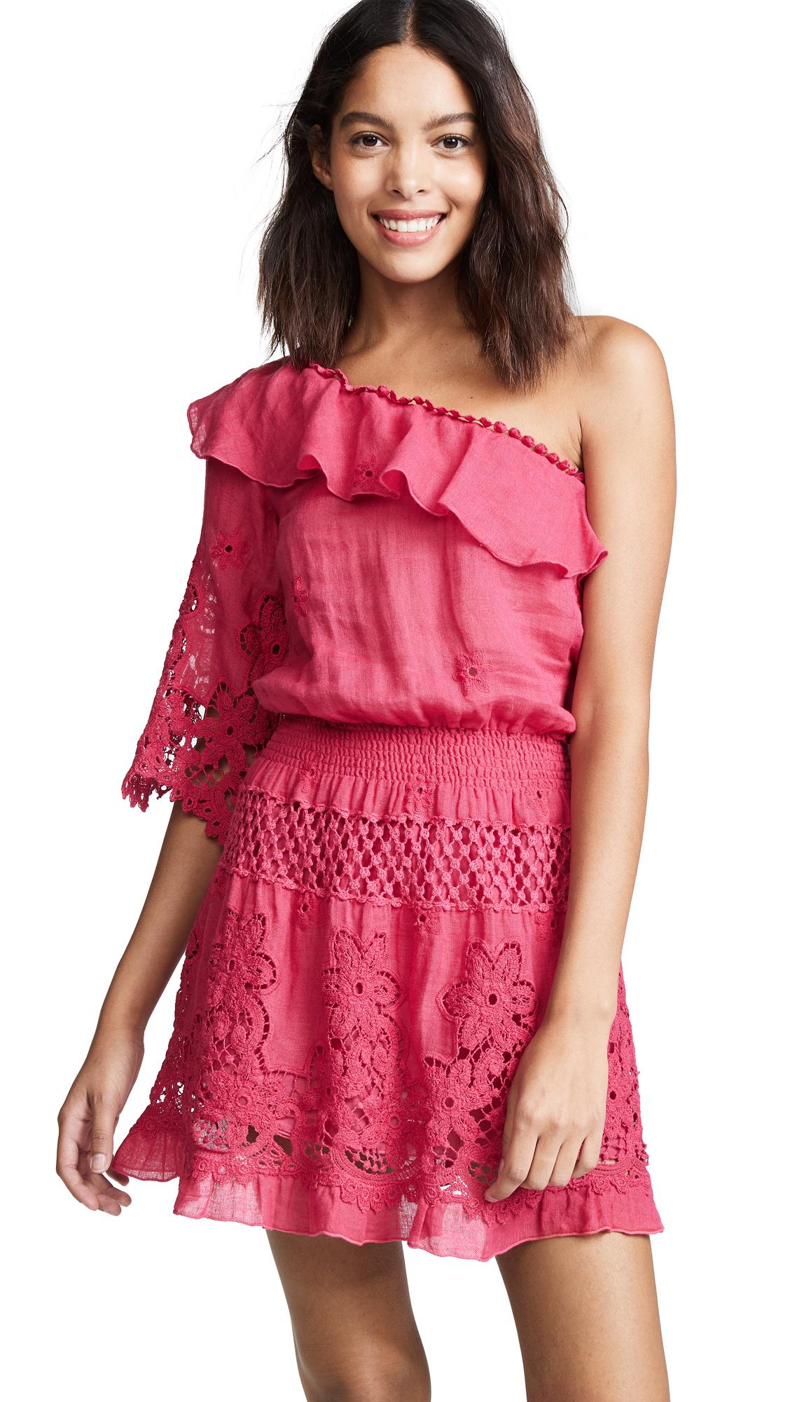 Temptation Positano Bali One Shoulder Short Dress - Cherry Red
