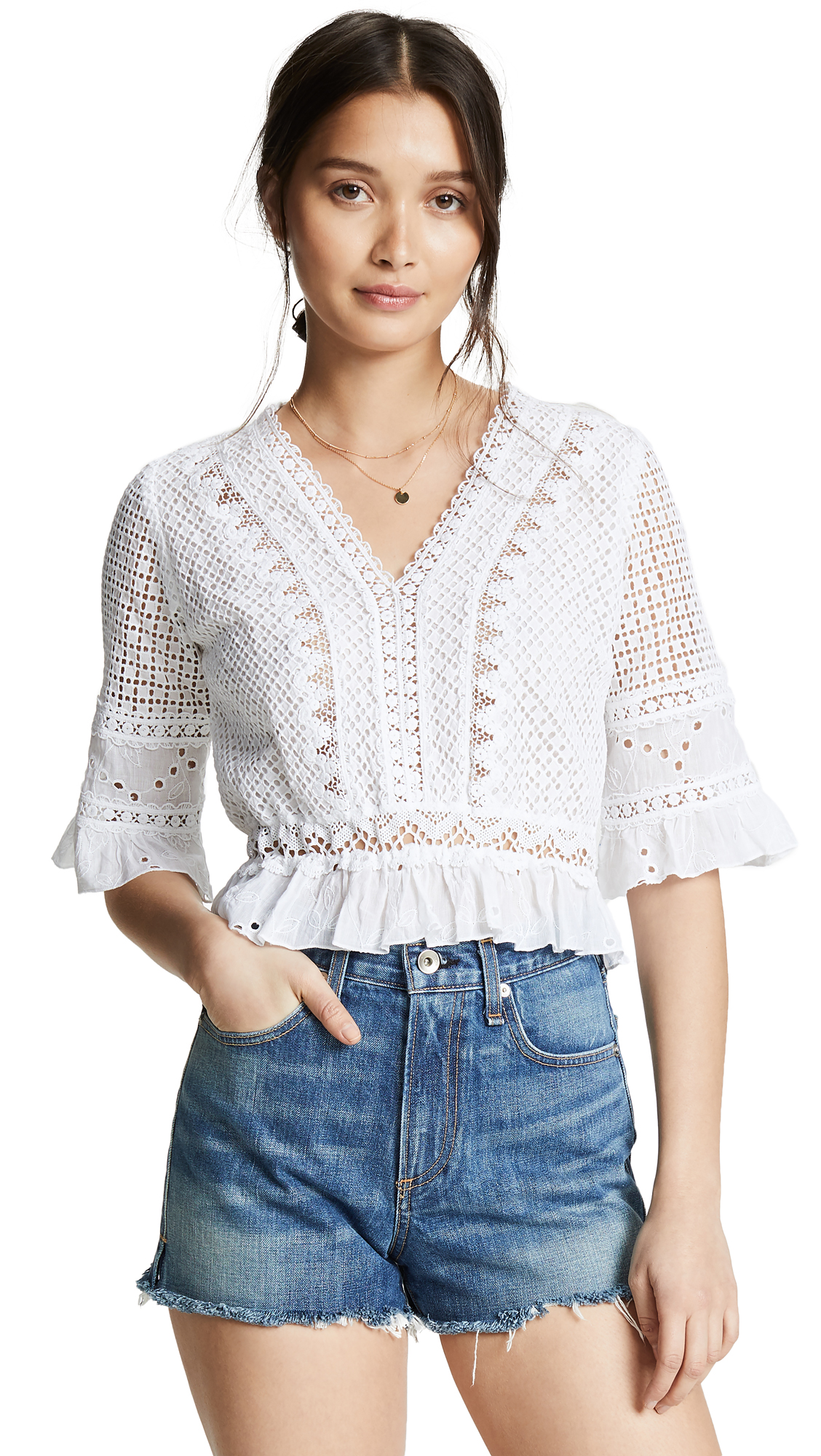 TEMPTATION POSITANO Crop 3/4 Sleeve Top With Lining in White