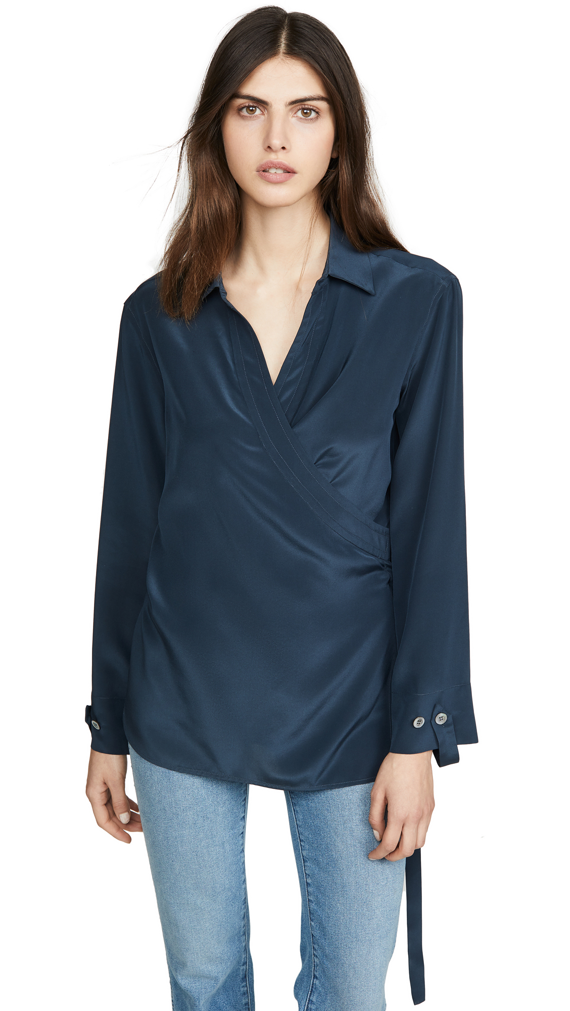 TRE by Natalie Ratabesi Long Sleeve Collared Silk Blouse – 60% Off Sale