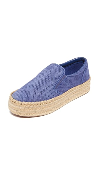 Tretorn Emilia Platform Espadrille Slip On Sneakers In Deep Sea Blue