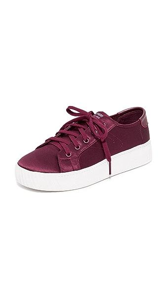 Tretorn Blaire Satin Platform Sneakers - Wine