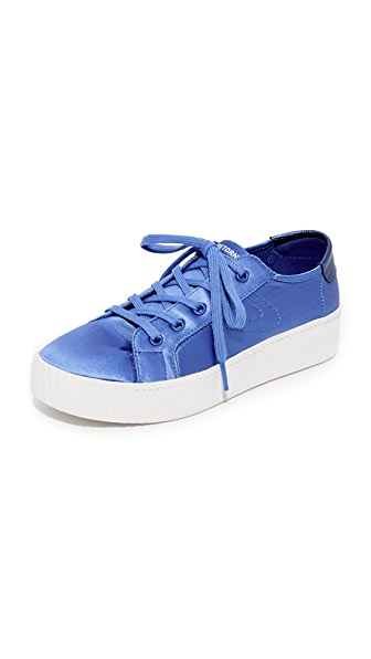 Tretorn Blaire Satin Platform Sneakers In Blue