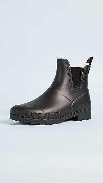 Tretorn Lina Faux Fur Rain Booties - Black/Black