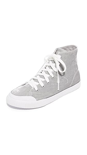 Tretorn Marley Velvet High Top Sneakers - Silver/White