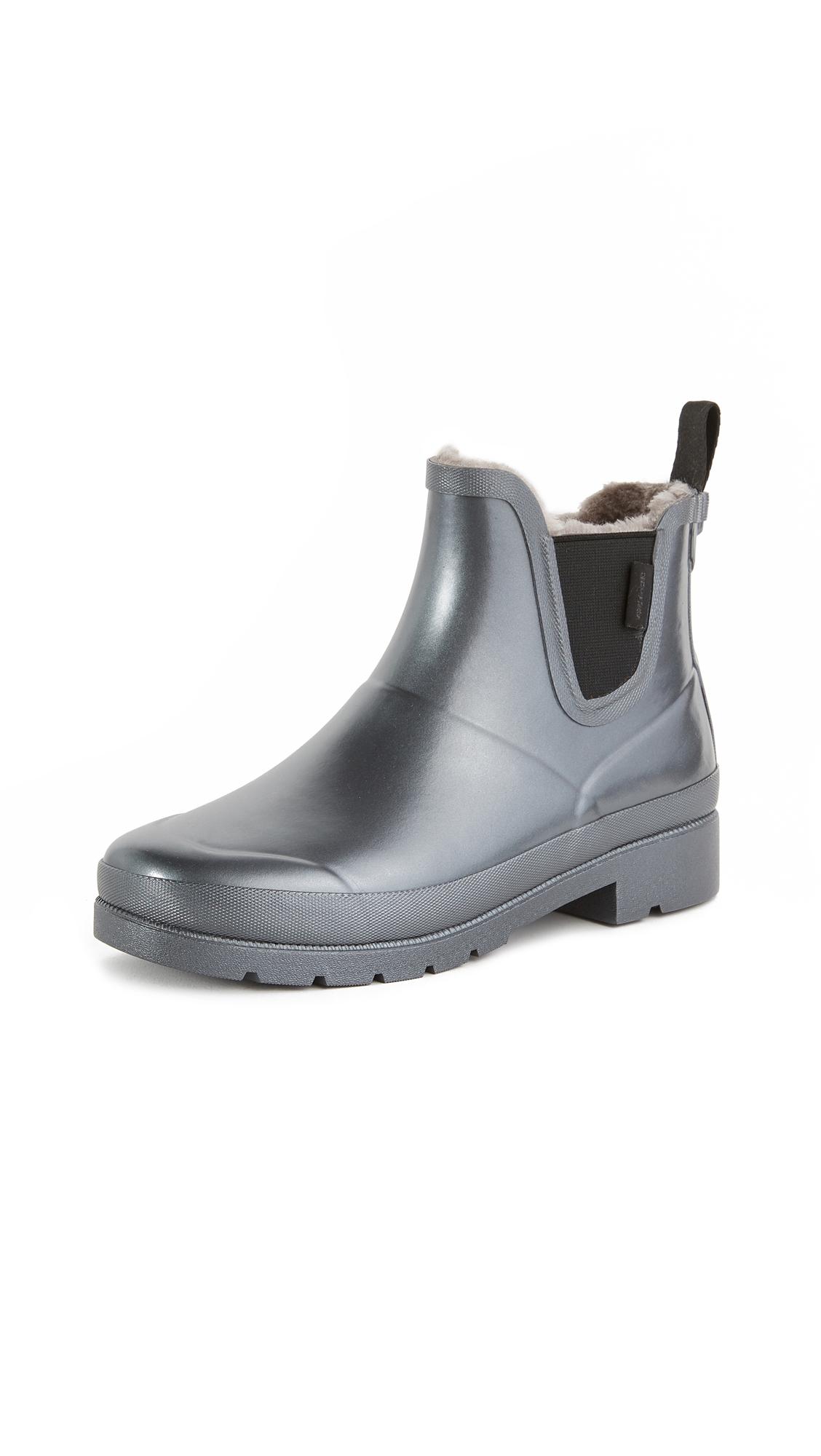 Tretorn Lina Faux Fur Rain Booties - Silver/Silver