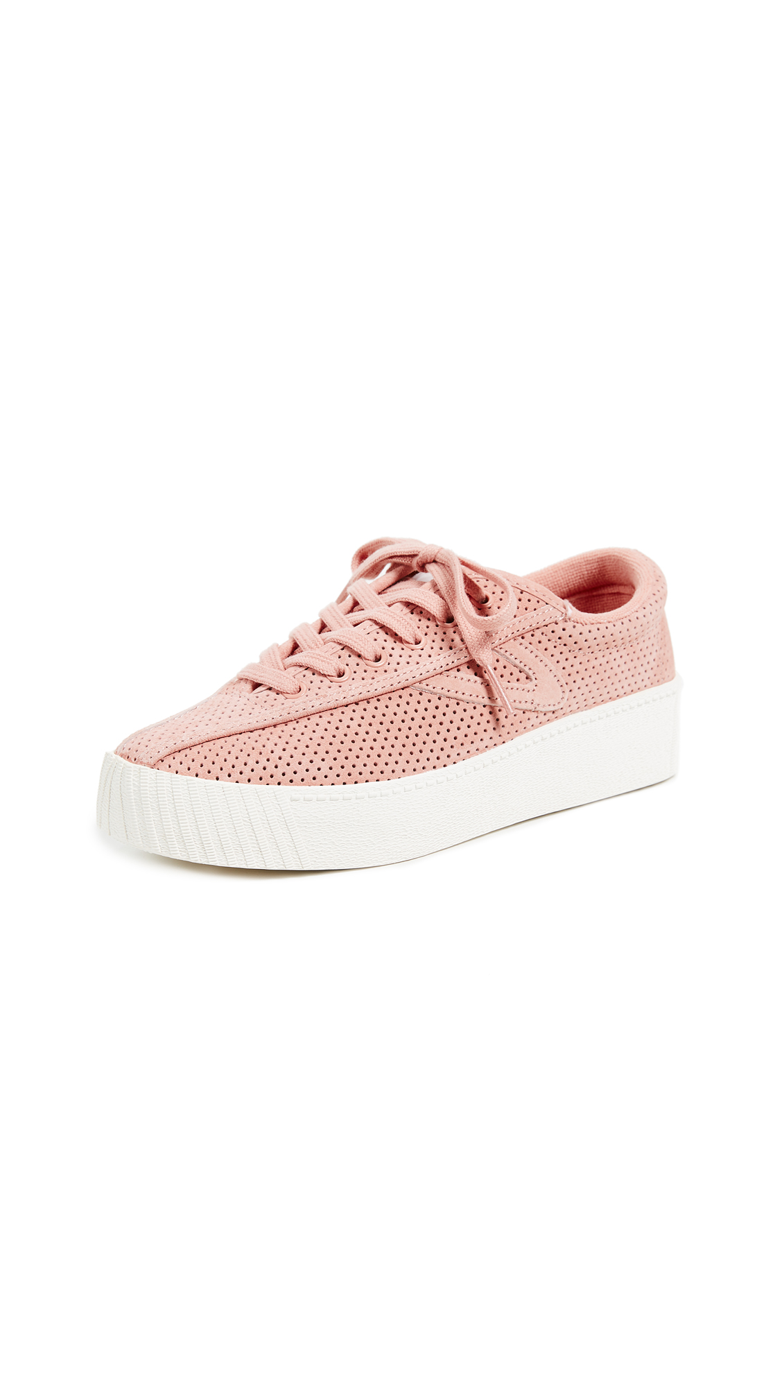 Tretorn Nylite Bold III Perforated Platform Sneakers - Soft Blush