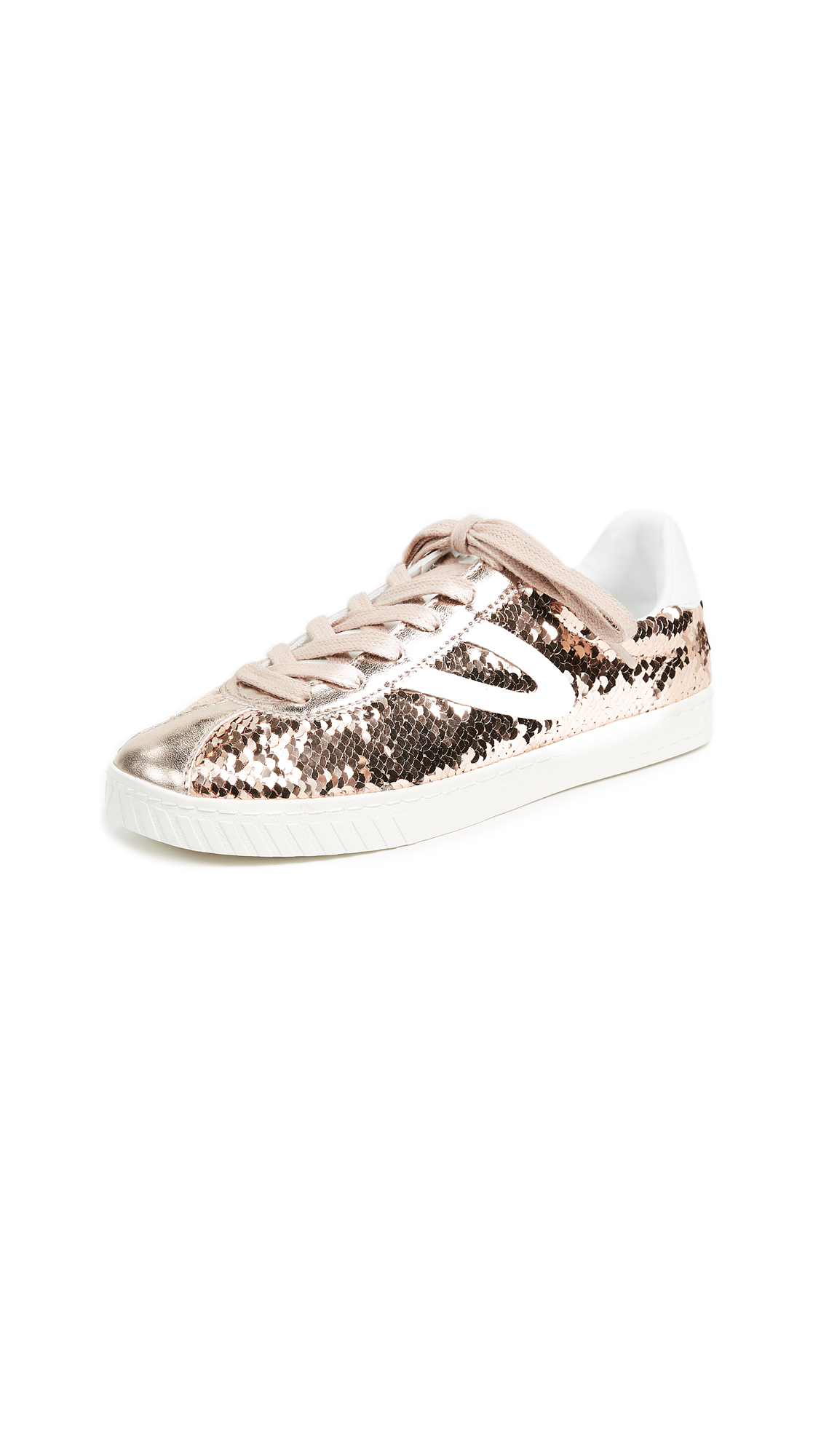 Tretorn Camden Metallic Lace Up Sneakers - Rose