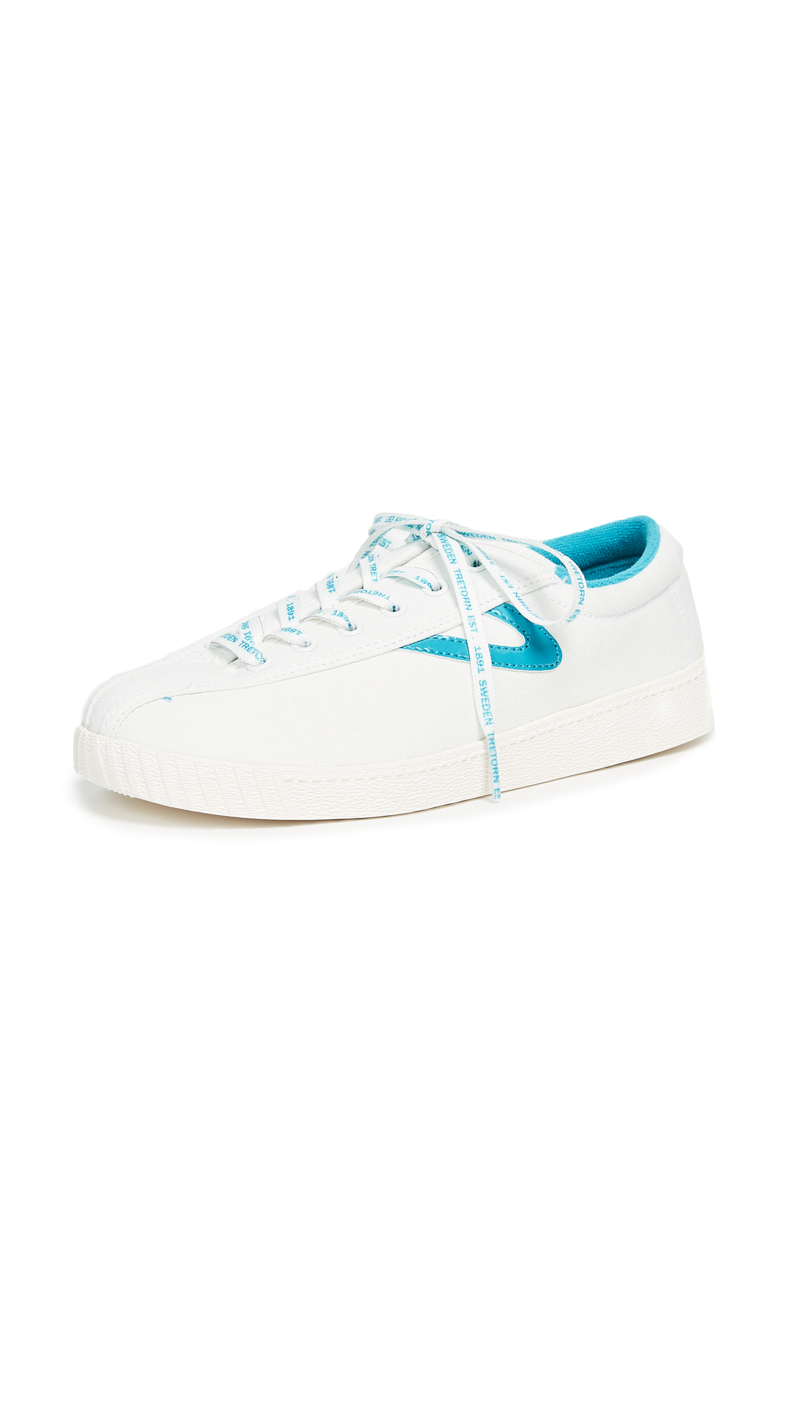 Tretorn Nylite Plus Lace Up Sneakers - Ivory/Teal