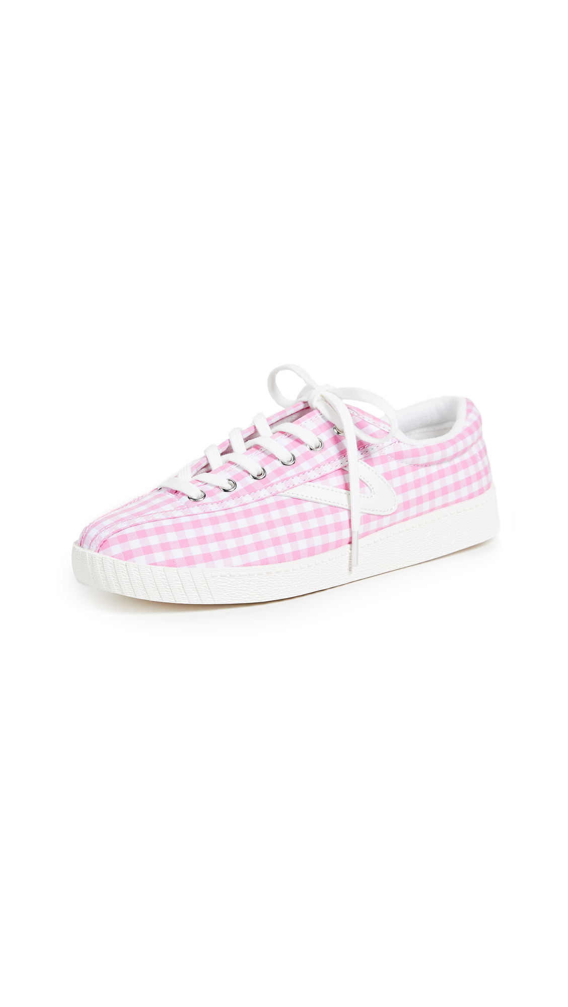 Tretorn Nylite Gingham Sneakers - Light Pink/Vintage White