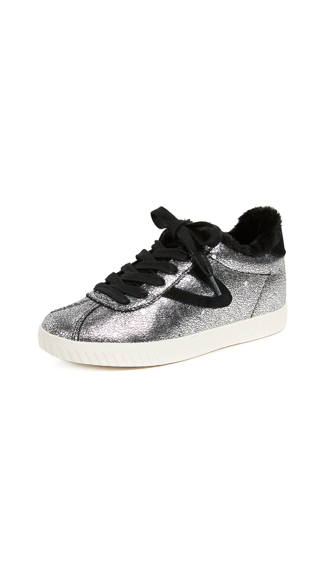 Tretorn Callie Lace Up Metallic Sneakers - Silver/Black