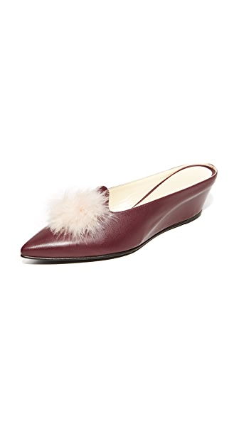 Trademark Castainge Slides with Marabou feathers - Burgundy