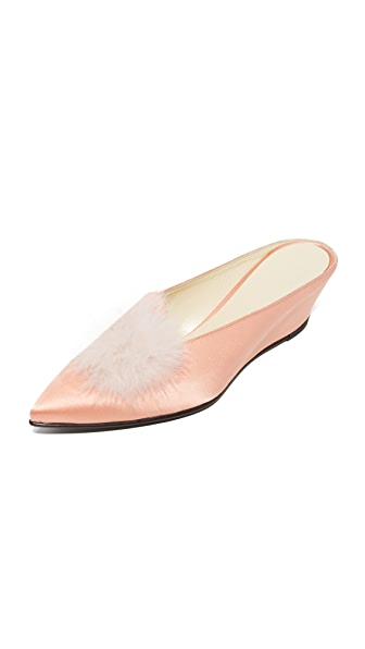 Trademark Castainge Slides with Marabou Feathers - Peach