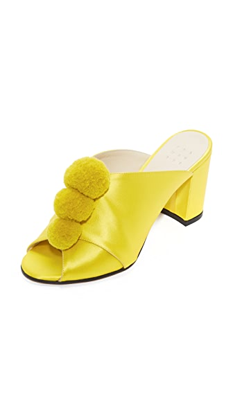 Trademark Pom Pom Mules - Canary Yellow