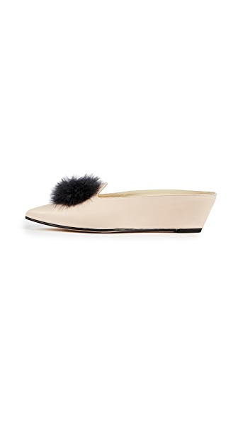Trademark Castaigne Marabou Mules In Cream