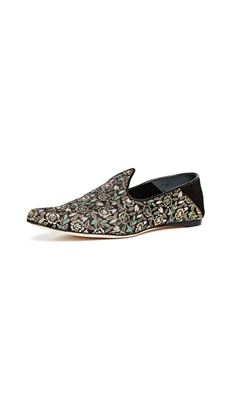 Trademark Lewitt Brocade Slippers In Black Multi
