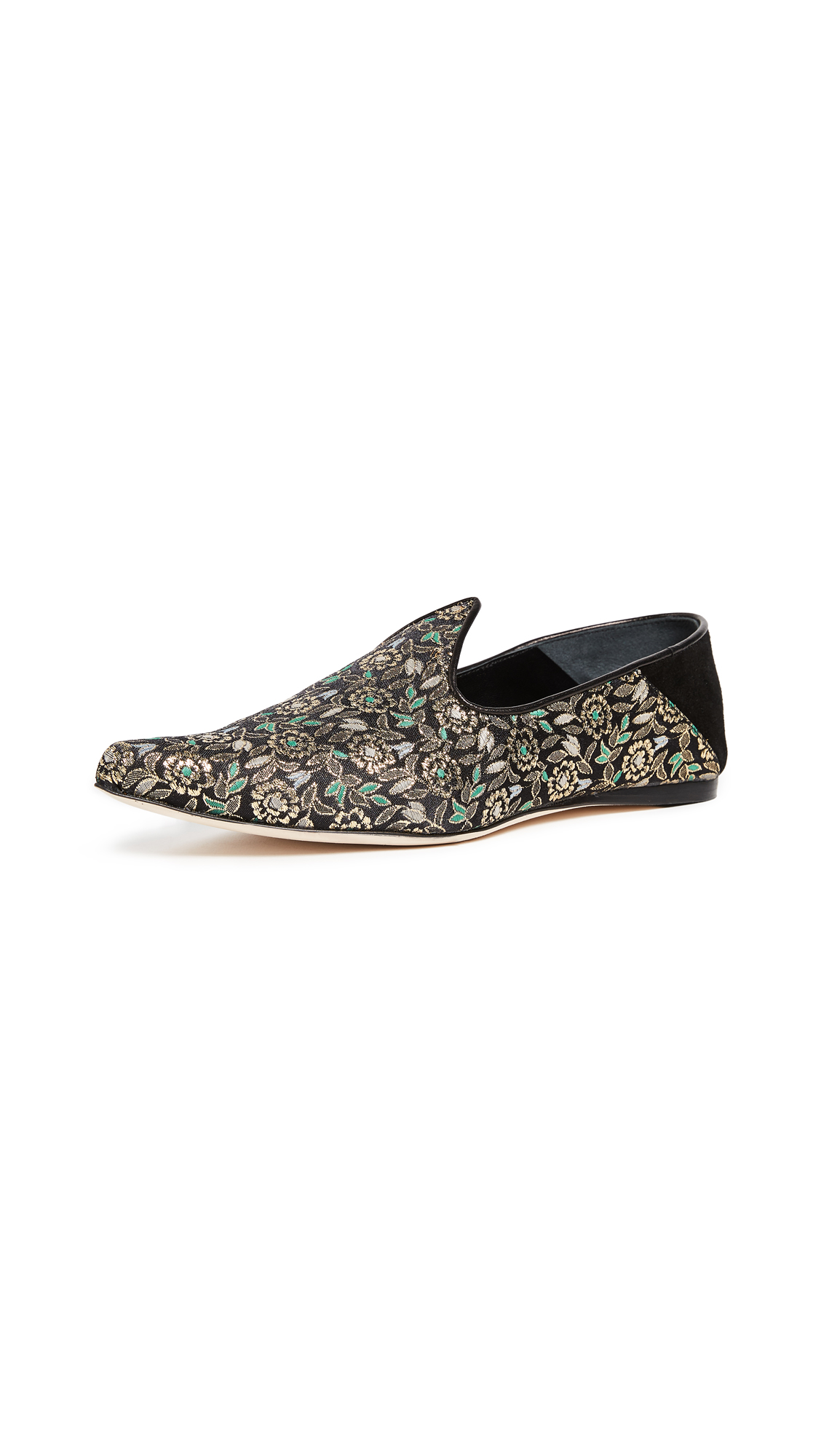 Trademark Lewitt Brocade Slippers - Black Multi