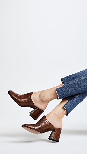 Trademark Frances Heeled Mules in Tobacco Brown