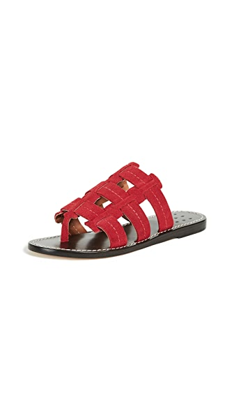 Trademark Cage Suede Sandals In Red