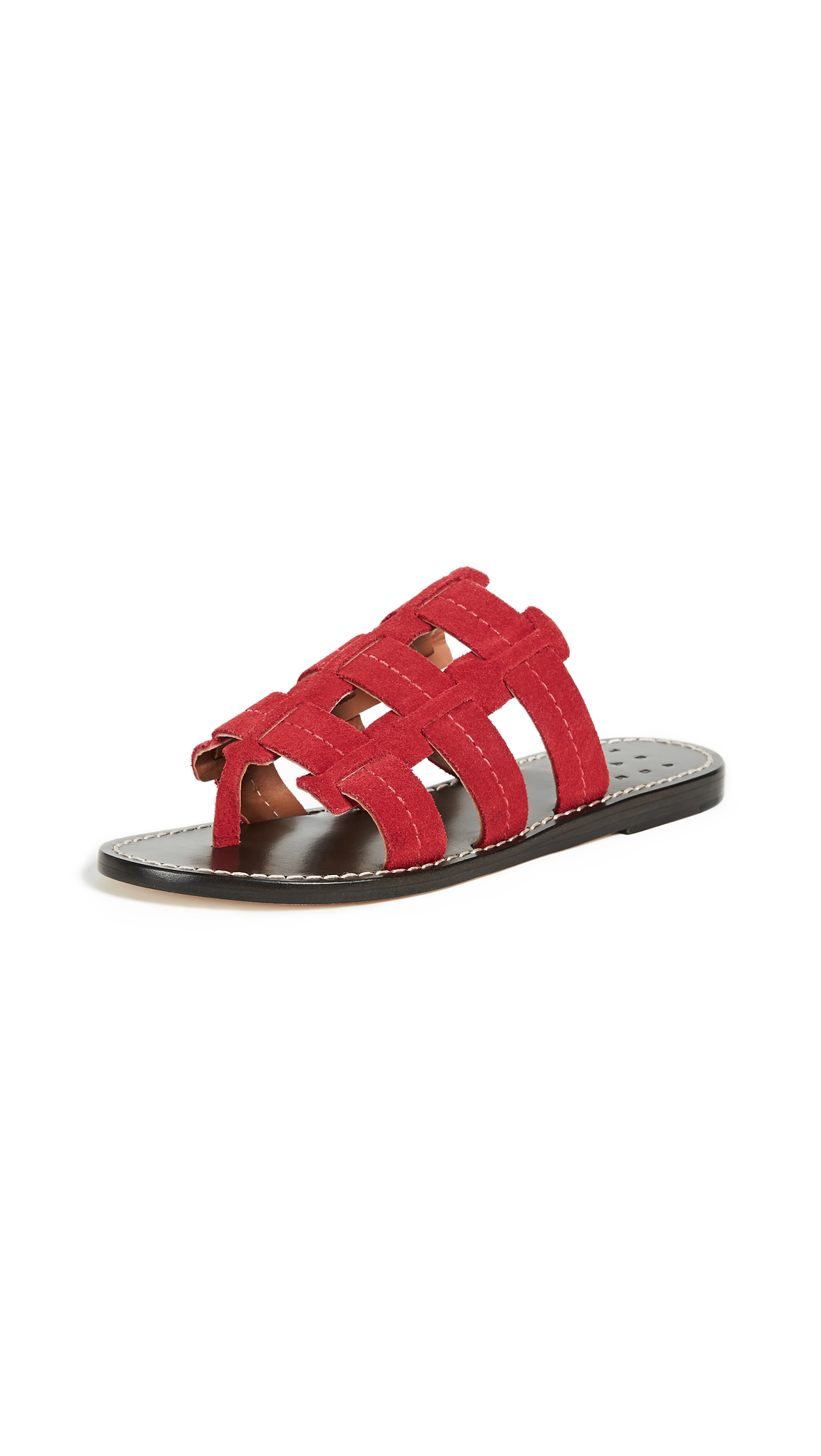 Trademark Cage Suede Sandals - Red