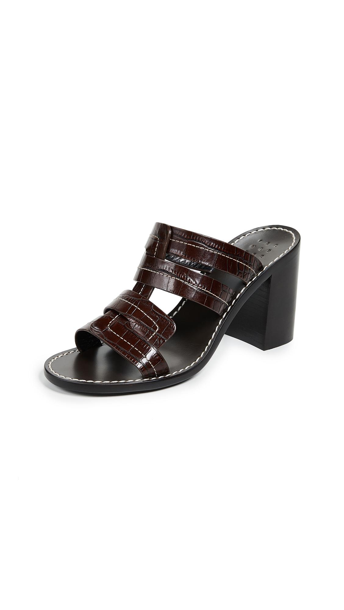 Trademark Interlock Faux Croc Heeled Sandals - Chocolate Brown