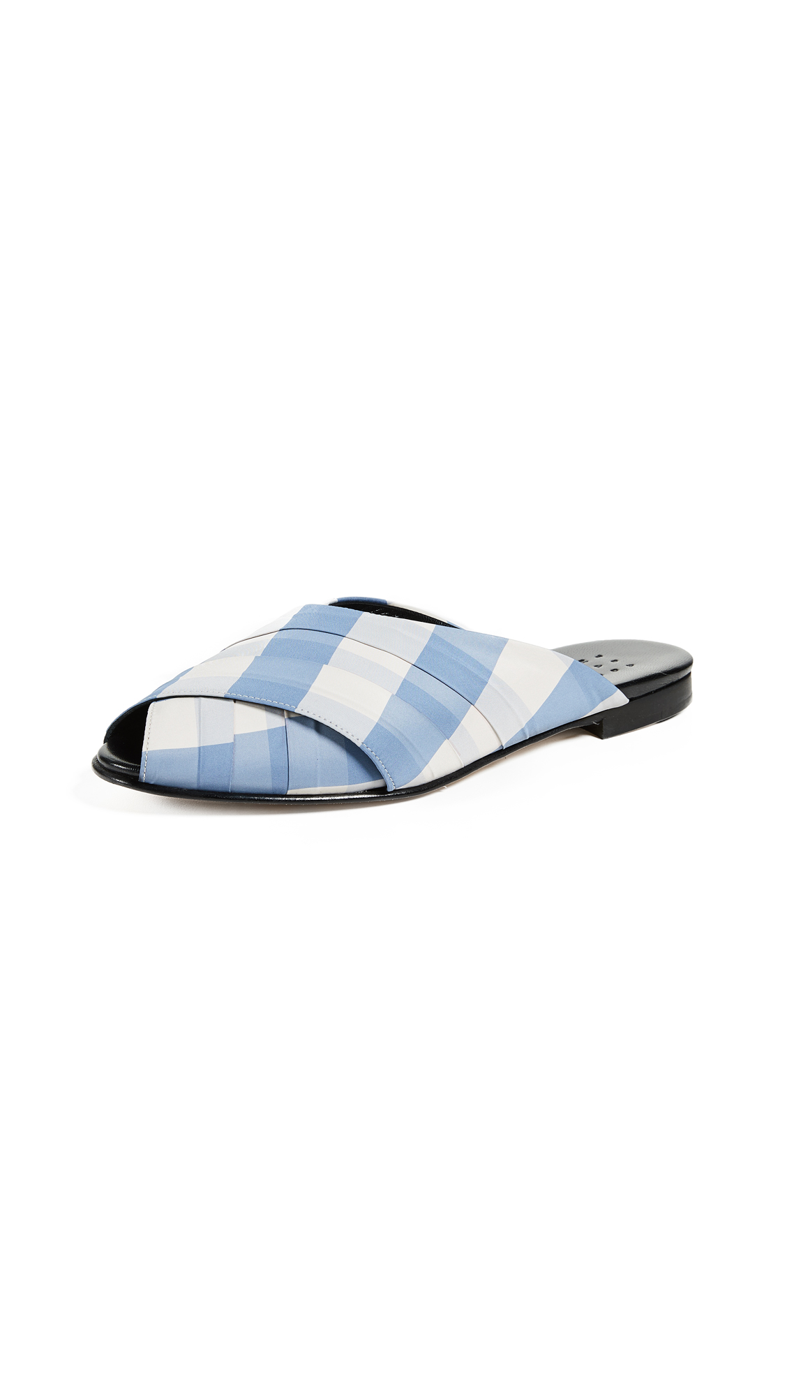 Trademark Gingham Wrapped Pajama Sandals - Blue/Cream