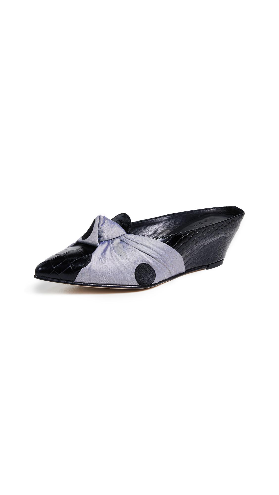 Trademark Adrien Tie Mules - Black Croc