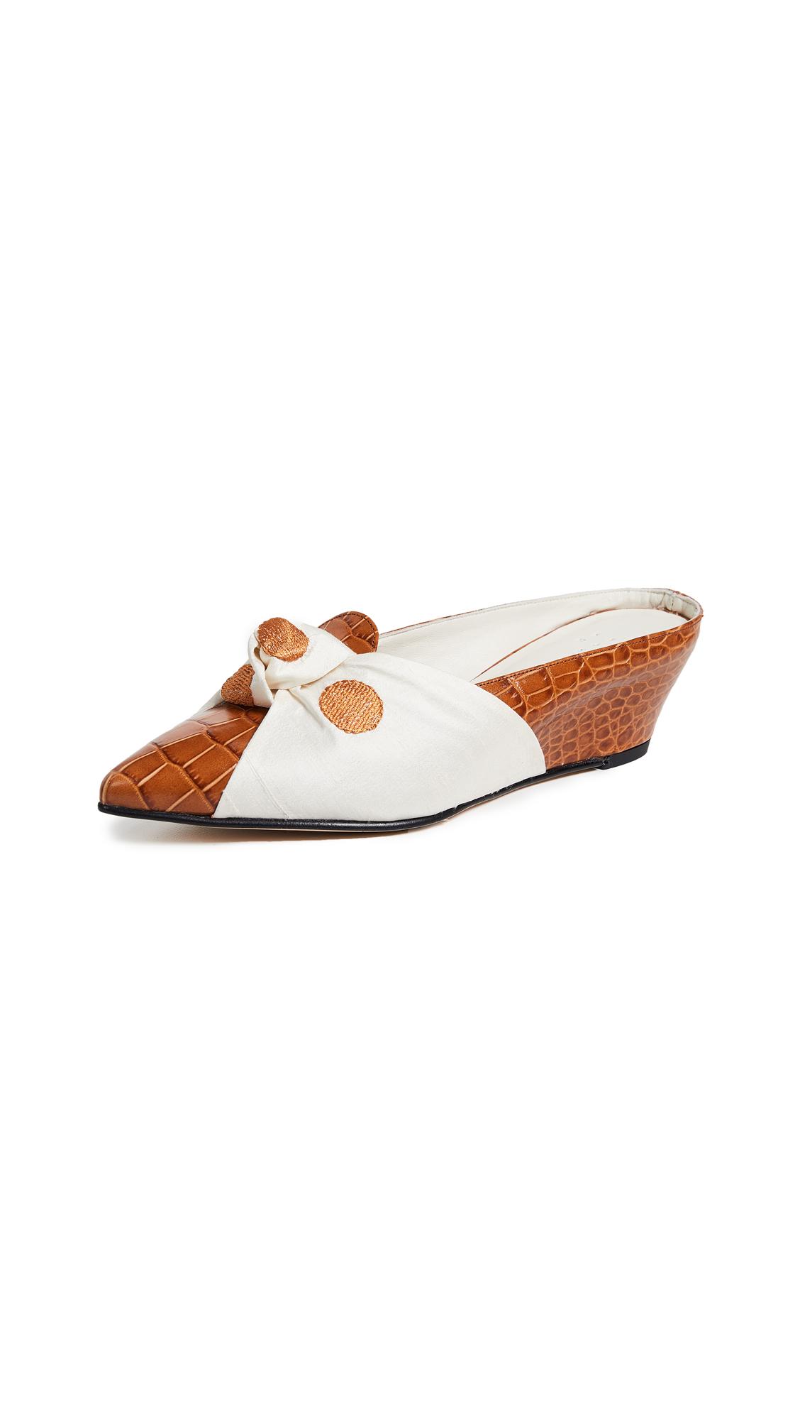 Trademark Adrien Tie Mules - Tan Croc